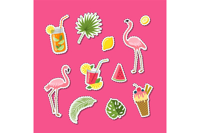 Vector flat cute summer elements, cocktails, flamingo, palm leaves sti