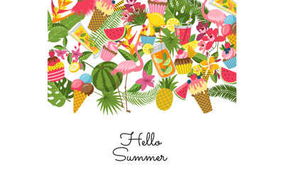 Vector flat cute summer elements, cocktails, flamingo, palm leaves bac