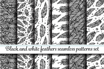 Ethnic feathers seamless patterns