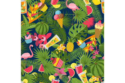 Vector flat cute summer elements, cocktails, flamingo, palm leaves pat