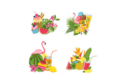 Vector flat cute summer elements, cocktails, flamingo, palm leaves pil