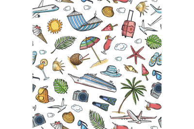 Vector hand drawn summer travel elements background or pattern illustr