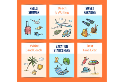 Vector hand drawn summer travel elements card templates set illustrati