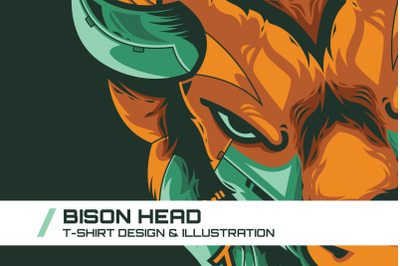 Bison Head T-Shirt Illustration