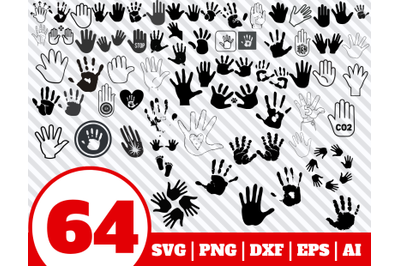 64 Hand Print SVG BUNDLE - Hand Print clipart - Hand Print vector