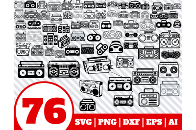 75 Boombox SVG BUNDLE - Boombox clipart - Boombox vector - Boombox