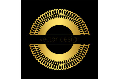 Golden logo template with circle ornament