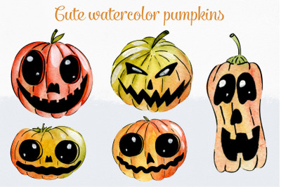 Cute watercolor pumpkins