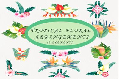 Watercolor bouquet. arrangements clipart.