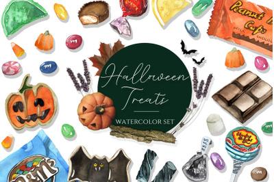Halloween Watercolor Illustrations & Patterns Set
