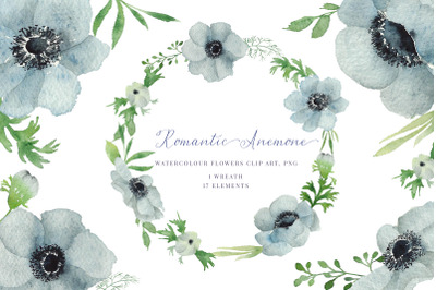 Watercolour Anemone, Hand Painted Watercolour Clipart, Wreath, PNG