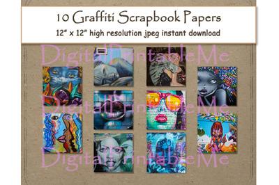 "Graffiti Digital Paper Print 12"" x 12"" vintage Texture scrapbook paper"