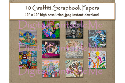 "Graffiti Digital Paper Print 12"" x 12"" Texture scrapbook paper pages"