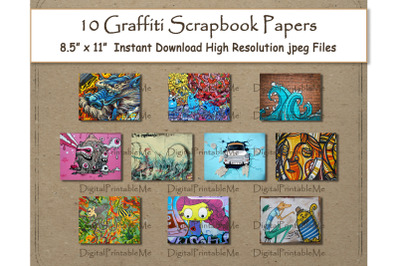 "Graffiti Digital Paper Print 8.5"" x 11"" Texture scrapbook paper pages"