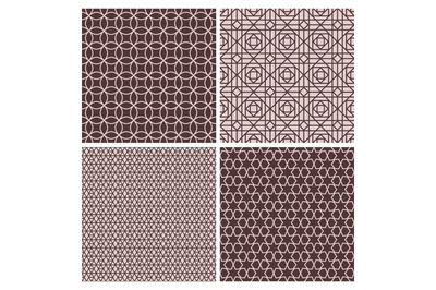 Oriental rose and brown decorative patterns