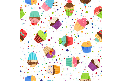 Colorful pattern with sweet cupcakes
