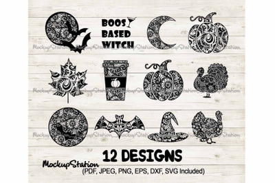 Fall SVG Bundle, Halloween Cut File Bundle, Thanksgiving PNG