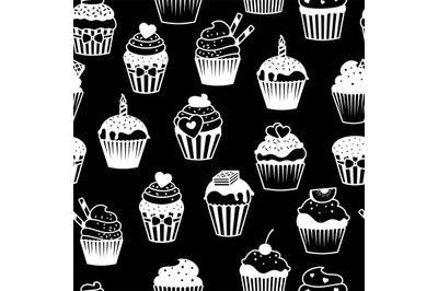 Black and white cupcakes pattern