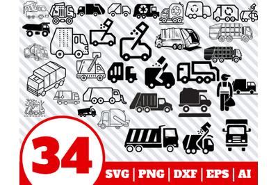 34 GARBAGE SVG BUNDLE - Garbage truck clipart - Garbage truck vector