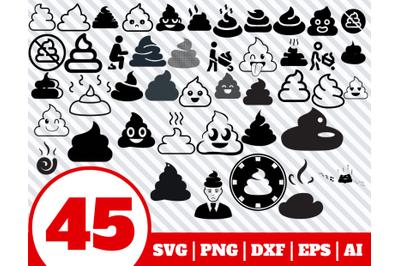 45 POOP SVG BUNDLE - shit clipart - poop vector - poo cricut - poop