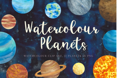 Watercolour planets, galaxy background, hand painted, Watercolour Clip