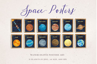 Watercolour Space Poster Set of 11 planets, Outer Space Decor, Solar S