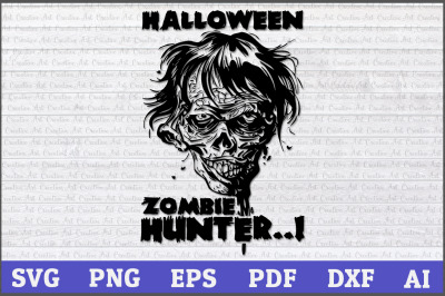Halloween Zombie Hunter Svg, Halloween svg, Zombie svg, Zombie face sv