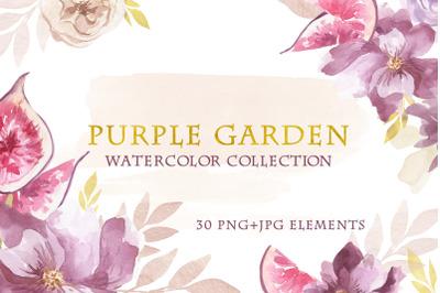 Watercolor Purple Garden Set
