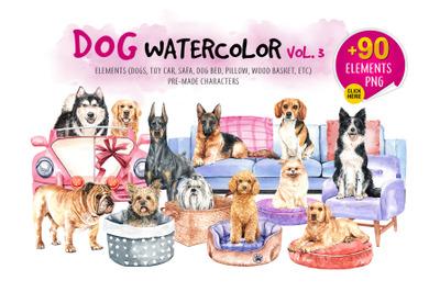 Dog watercolor Vol.3. Animal Clip art