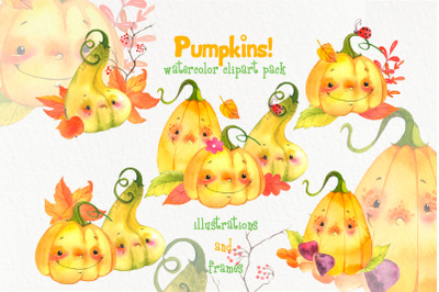 Cute watercolor pumpkins clipart Fall clip art Digital Frames download