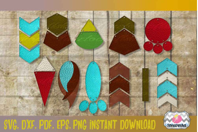 SVG, DXF, PDF, PNG, and EPS Geo Earring Template Bundle, Cutting Files