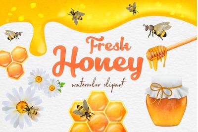 Watercolor Bee Clipart