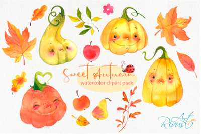 Cute watercolor pumpkins clipart. Fall leaves clip art Digital Frames