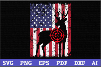 Deer Hunting American Flag SVG Design,American Flag svg, Hunting svg