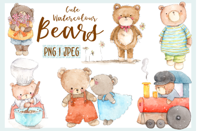 Cute Watercolor Bears | 6 PNG / JPEG Illustrations