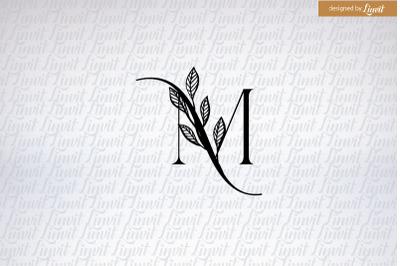M initial, m monogram, modern m initial