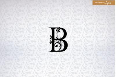 B letter, B font, monogram b, wedding monogram b