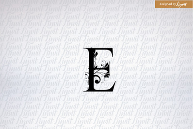 E letter, e font, e monogram, e initial
