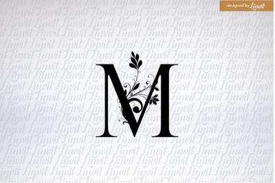 M initial, monogram M, custom M logo, custom m initial