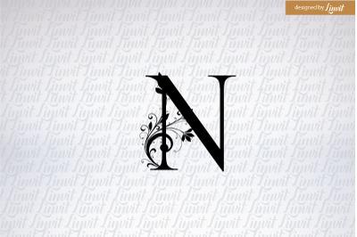 N wedding Logo, N monogram, N initial