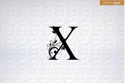 X logo, x initial,  x wedding logo, x wedding monogram