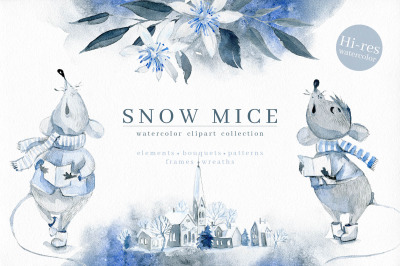 Snow Mice. Winter clipart set.