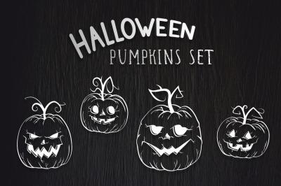 Set of pumpkins. White outline. Vector.