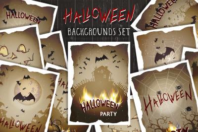 Set of Halloween illustrations. Vector.