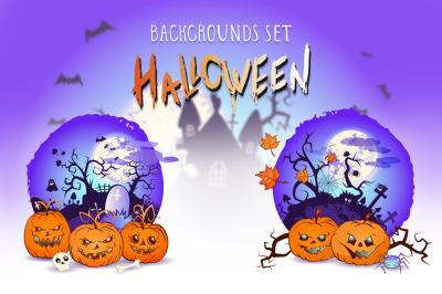Set of Halloween vector illustratiosn with pumpkins heads.