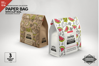 Paper Bags with Clip Seal Packaging Mockup