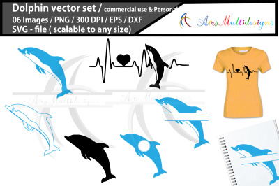 Dolphin vector silhouette graphics