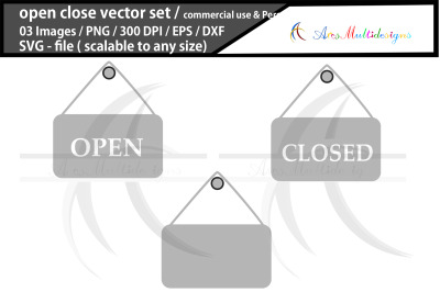 open and close sign board svg vector