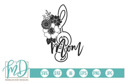 Floral Treble Clef Band Mom SVG
