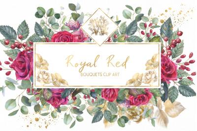 Marsala red rose floral border clip art, wedding Watercolor invitatio